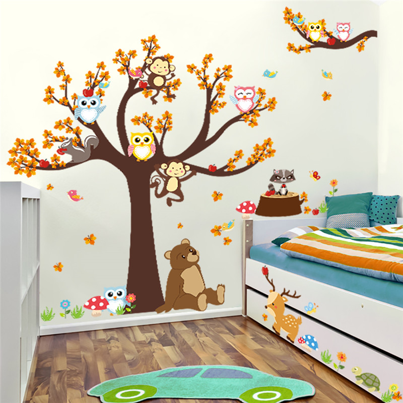 cartoon forest wall stickers for kids room - the genius ideas